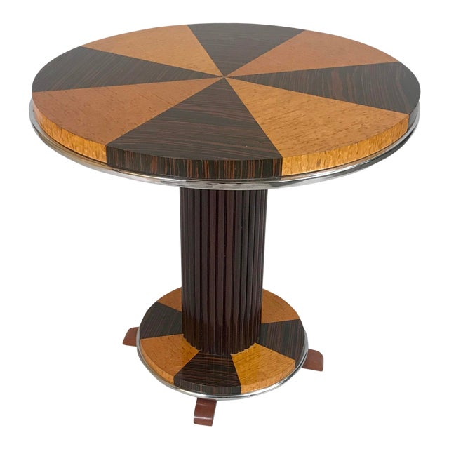 1930s Art Deco Macassar and Tiger Maple Side Table For Sale