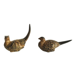 1970s Vintage Japanese Pottery Pheasants - a Pair For Sale