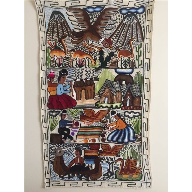 1960s Vintage Hand Embroidered Peru Tapestry Wall Textile | Chairish