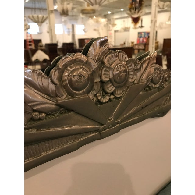 Glass French Art Deco Geometric and Floral Wall Mirror With Skyscraper Motif For Sale - Image 7 of 10