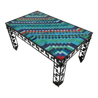 Circa 1970s Artist Made Murano Glass Tile Mosaic Coffee Table For Sale