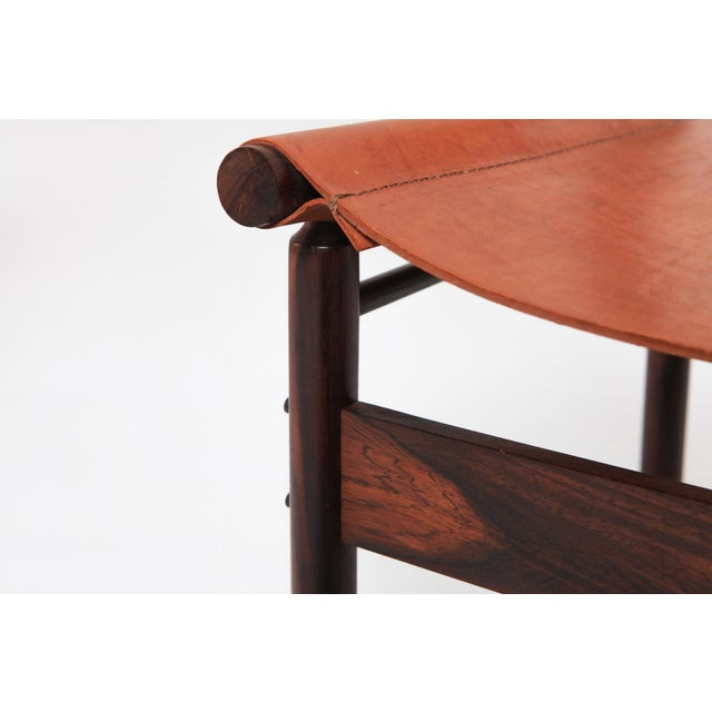 Zalszupin Jacaranda Dining Chairs With Cognac Saddle Leather Seating For Sale - Image 11 of 12