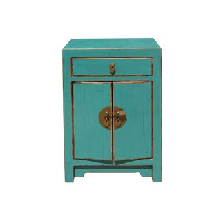 Oriental Distressed Light Teal Blue Lacquer Side End Table Nightstand For Sale