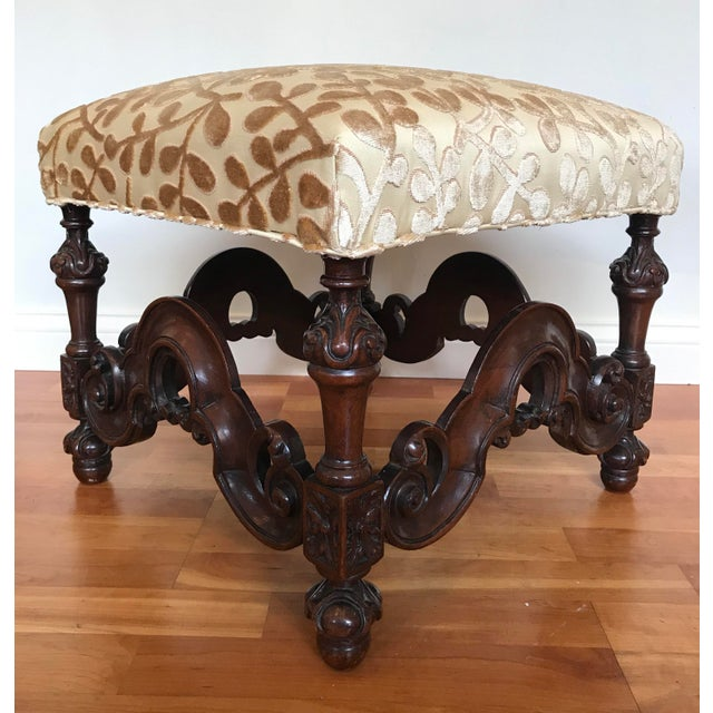 1920s Charles II Style English Jacobean Tutor Mahogany Footstool Upholstered in Beacon Hill Sommer Sonata - a Pair For Sale - Image 5 of 13