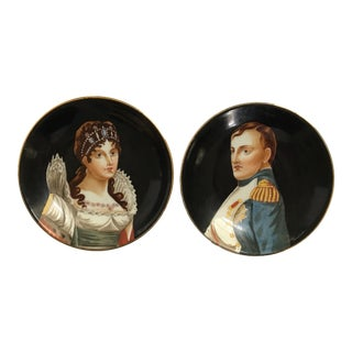 Rare - Richard Ginori Italian Hand-Painted & Signed Porcelain Portrait Plates of Napoleon and Josephine - a Pair For Sale