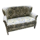 Image of Lee Industries Upholstered Lotus Print Loveseat For Sale