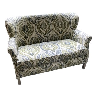 Lee Industries Upholstered Lotus Print Loveseat For Sale