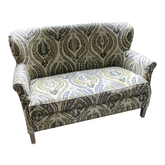 Magnificent Lee Industries Upholstered Lotus Print Loveseat Forskolin Free Trial Chair Design Images Forskolin Free Trialorg