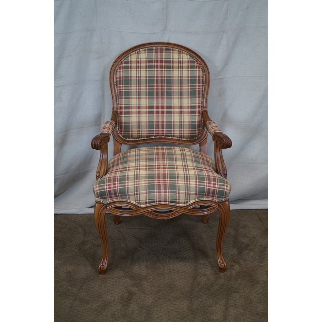 Fairfield French Style Plaid Upholstered Arm Chair - Image 2 of 10