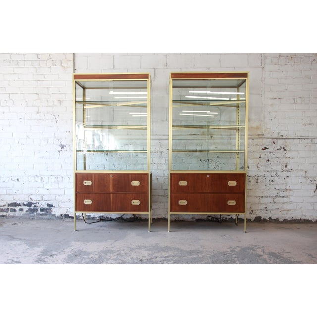 Baker Furniture Hollywood Regency Campaign Style Lighted Display Cabinets - a Pair For Sale - Image 13 of 13