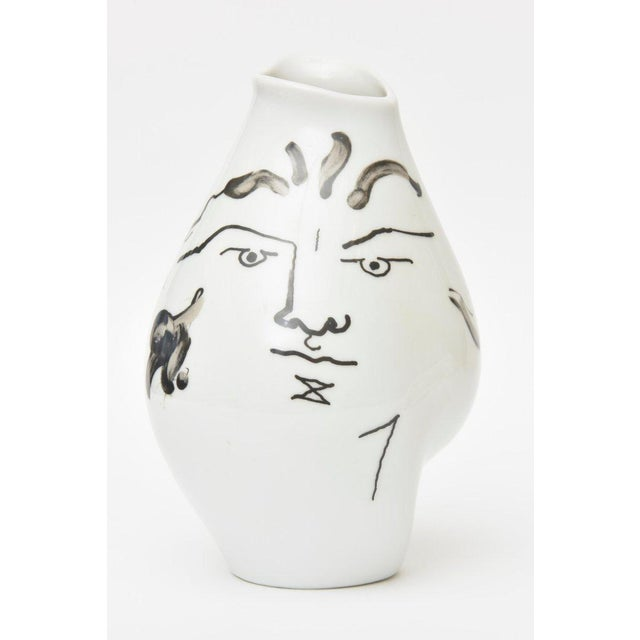 Abstract Jean Cocteau for Rosenthal Tetes Face Porcelain Hand Painted Vase / Vessel For Sale - Image 3 of 11