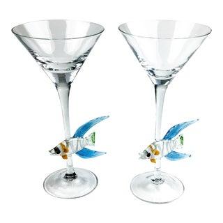Vintage Sunfish Murano Martini Glasses For Sale