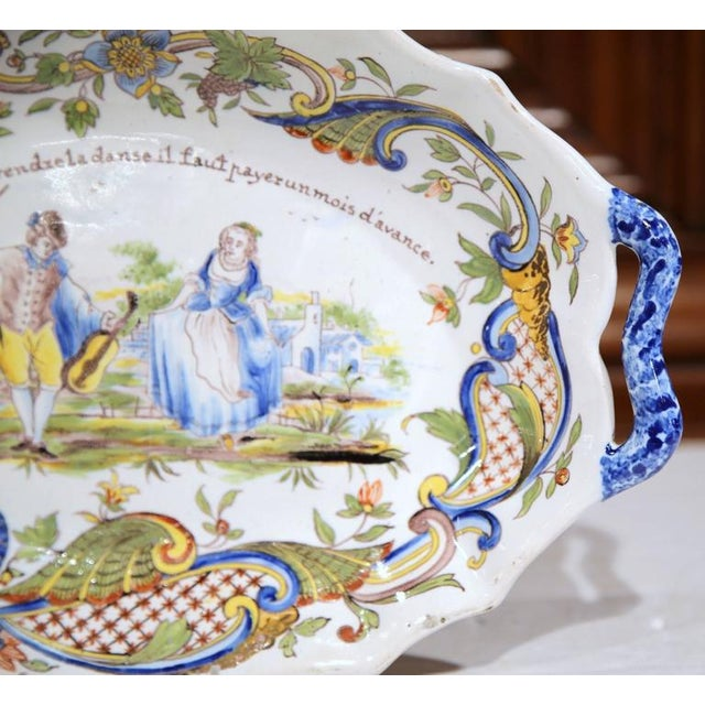 19th Century Hand Painted Oval Platter For Sale In Dallas - Image 6 of 8
