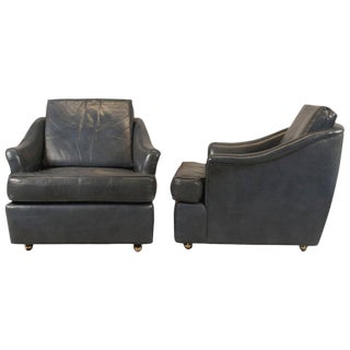 Pair of Leather Club Chairs by Edward Wormley for Dunbar For Sale