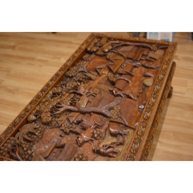 Asian Hand-Carved Teak Coffee Table For Sale - Image 7 of 9