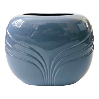 Extra Large Vintage 80s Modern Embossed Periwinkle Vase For Sale