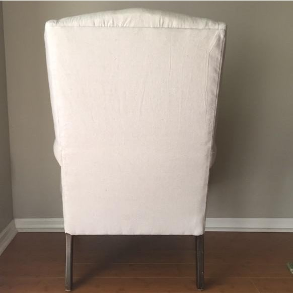 Vintage Neutral Linen Wingback Chair - Image 5 of 11