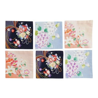 Japanese Cotton Fabric Coasters - Set of 6 For Sale