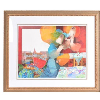 """Limited Edition Signed Sunol Alvar Hand Enhanced Lithograph """"Pintora Mexicana"""" For Sale"""