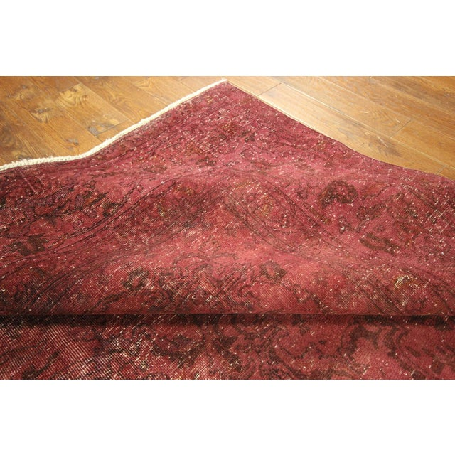 Persian Overdyed Rose Red Tabriz Rug 10' x 13' - Image 6 of 8