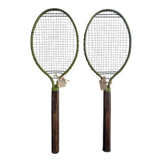 1926 Vintage Pilot Wood Tennis Racket Set With Green Accent - a Pair For Sale