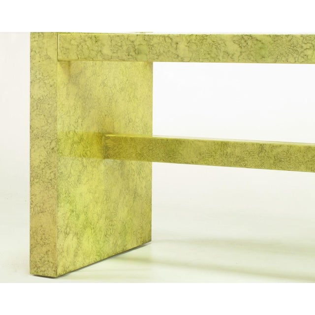 Gold Henredon Circa 75 Glass & Marbleized Base Dining Table For Sale - Image 8 of 8