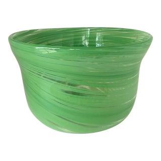 Hand-Blown Green Art Glass Bowl For Sale