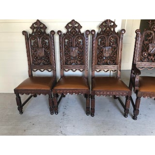1860 Circa Hand Carved Oak Gothic Church Chairs - Set of 4 Preview