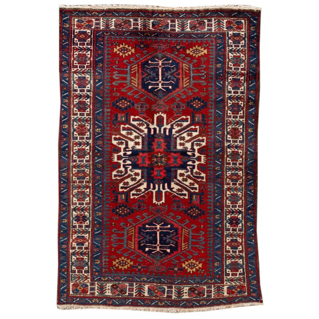 "Vintage Persian Heriz Rug, 4'8"" X 7'0"" For Sale - Image 9 of 9"