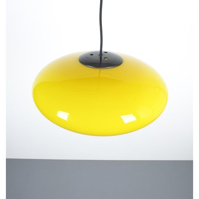 Stilnovo Yellow Stilnovo Glass Ball Pendant Lamp, Midcentury Italy For Sale - Image 4 of 8
