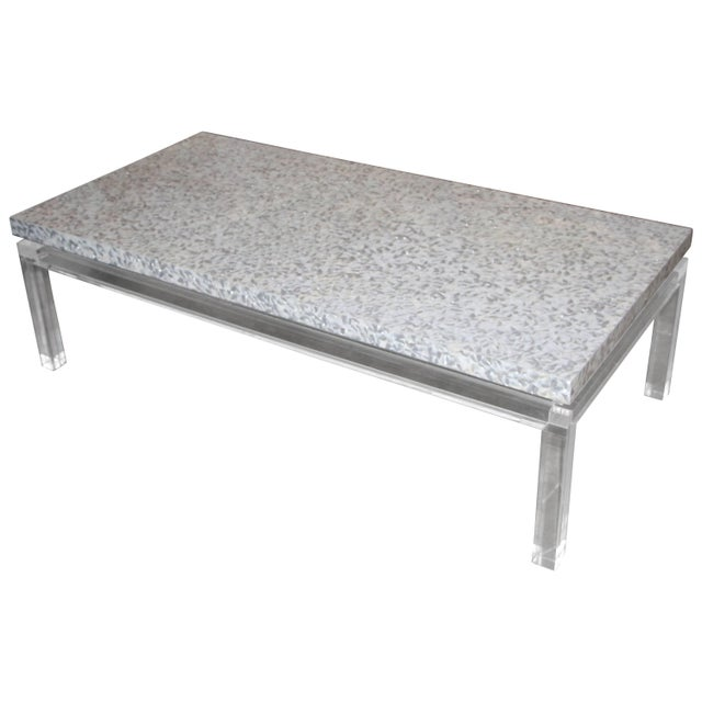 Phyllis Morris Custom Lucite and Mother of Pearl Coffee Table Signed For Sale - Image 11 of 11