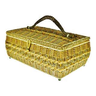 Vintage Japanese Wicker Sewing Basket For Sale