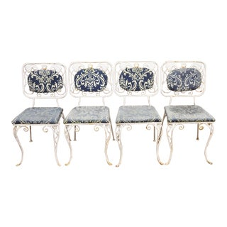 Vintage French Art Nouveau Wrought Iron Floral Dining Chairs - Set of 4