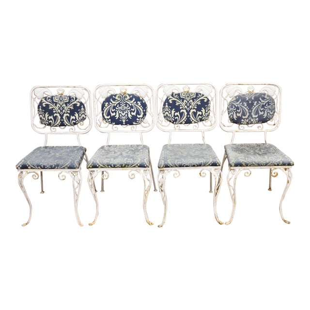 Vintage French Art Nouveau Wrought Iron Floral Dining Chairs - Set of 4 For Sale