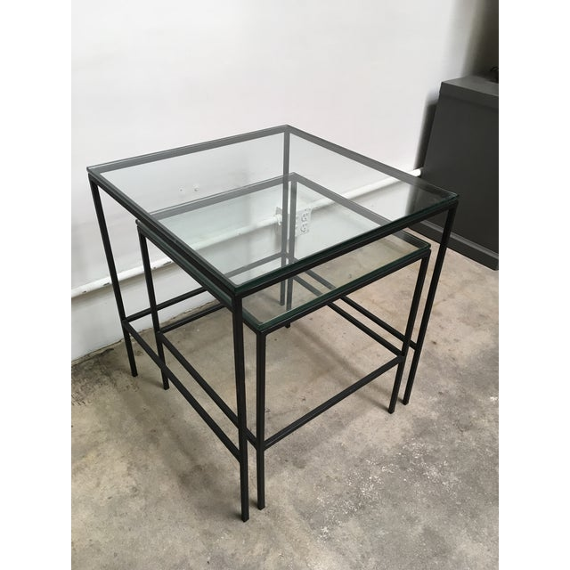 1950s Mid Century Modern Black Iron Frame & Glass Top Nesting Tables - 2 Pieces For Sale - Image 13 of 13