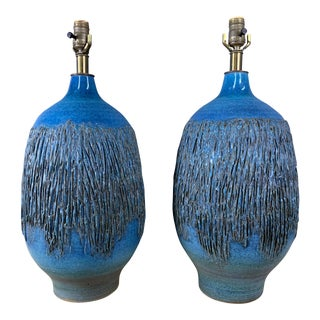 1960s Cerulean Blue Ceramic Table Lamps by Lee Rosen for Design Technics - a Pair For Sale