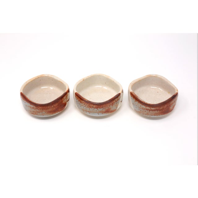 Blue Vintage 1970s Japanese Studio Pottery Sauce Dishes - Set of 3 For Sale - Image 8 of 9