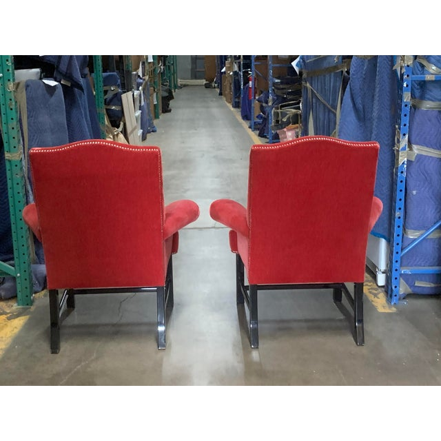 Pair of Stunning J Robert Scott scarlet red velvet arm chairs with pewter nailheads and black lacquer legs. If need there...