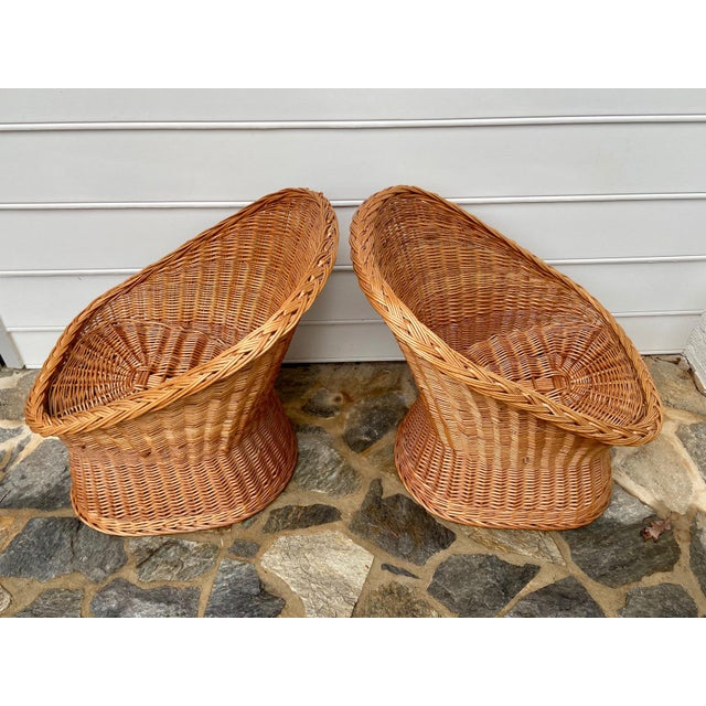 Wicker Vintage Boho Chic Wicker Scoop Chairs - a Pair For Sale - Image 7 of 10