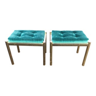 Pair of Hollywood Regency Brass and Emerald Mohair Ottomans For Sale