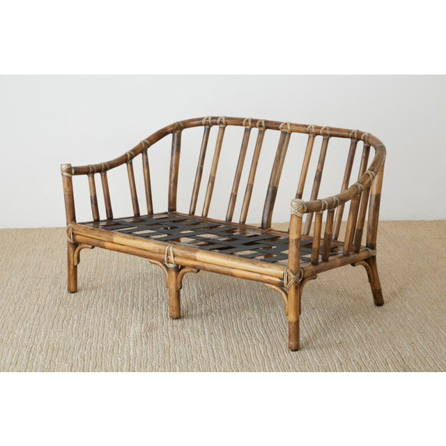 McGuire McGuire Organic Modern Bamboo Rattan Settee Loveseat For Sale - Image 4 of 13