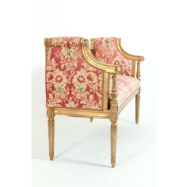 French Louis XVI Style Giltwood Frame Settee For Sale - Image 10 of 13