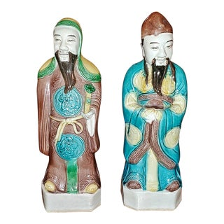 Vintage Pair of Chinese Ceramic Monks For Sale