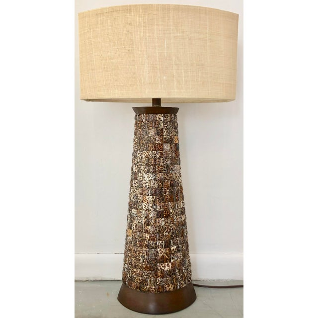 XL Mosaic Shell Table Lamp With Shade For Sale - Image 11 of 11