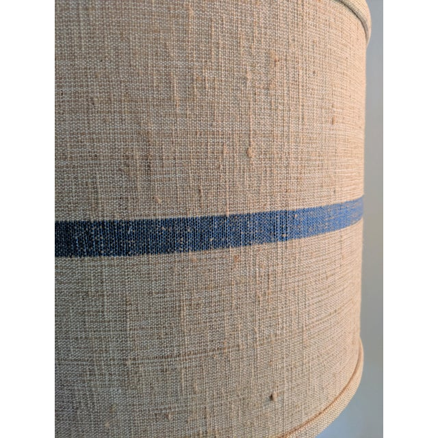 French Country Seeded Blown Glass Lamp With Blue Striped Linen Shade For Sale - Image 3 of 7