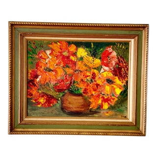 Floral Midcentury Vibrant Oil Painting For Sale