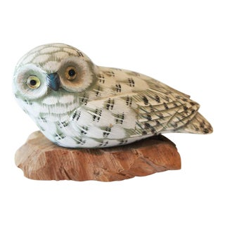 Carved Snow Owl Figurine For Sale