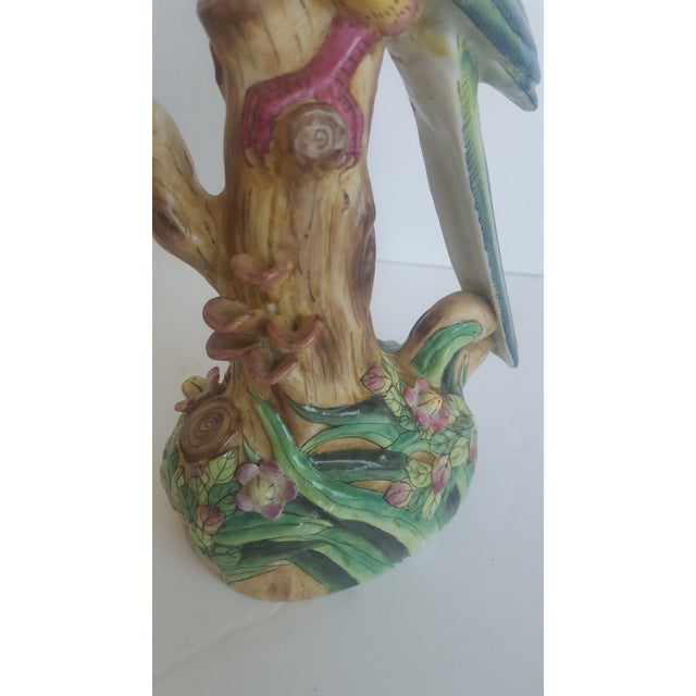 Vintage Handpainted Chinese Porcelain Parrot For Sale In Charlotte - Image 6 of 10