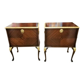 Pair of Matching Side Tables or Nightstands With Gilt Accents For Sale