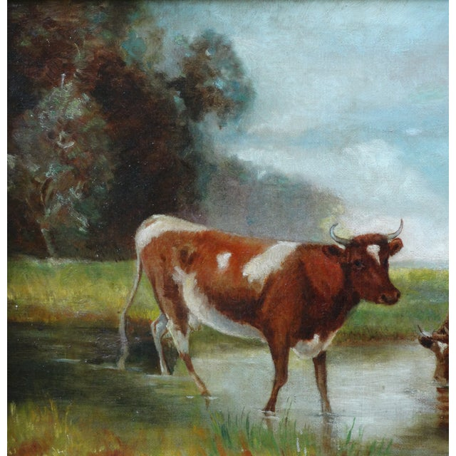 Cottage Antique Continental School Cattle Oil Painting For Sale - Image 3 of 9